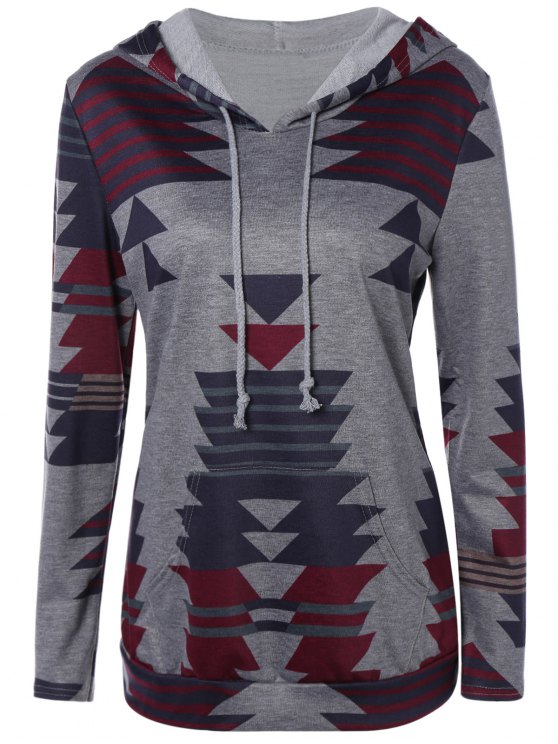lady Geometric Print Pullover Hoodie - GRAY L