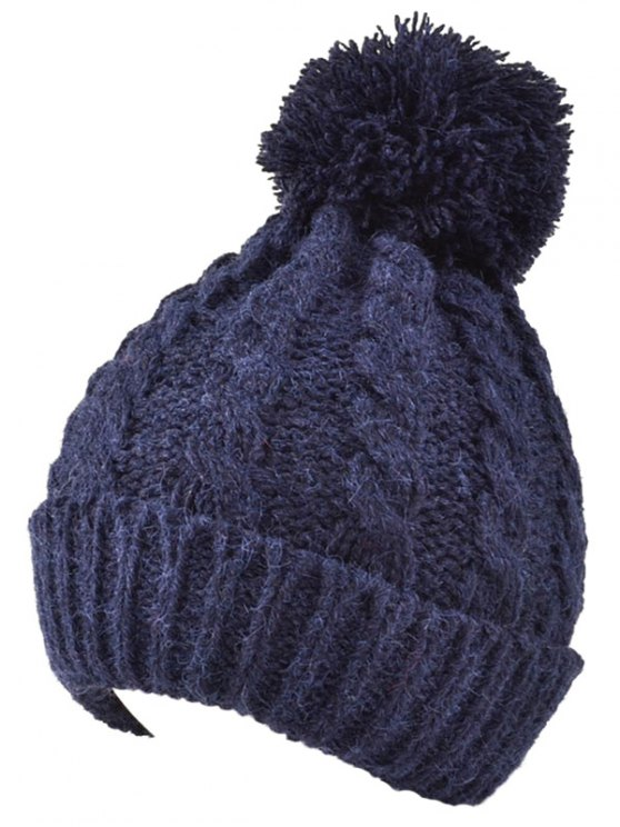 Hemp Flowers Flanging Knit Hat - CADETBLUE  Mobile