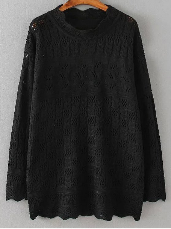fashion Casual Cut Out Sweater - BLACK XL