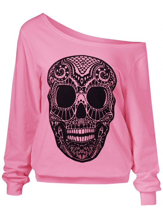 Oblique Shoulder Skulls Print Sweatshirt - PINK XL Mobile