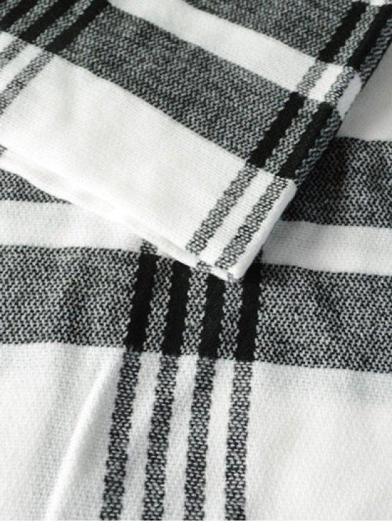 Plaid Pattern Fringed Knit Scarf - WHITE  Mobile