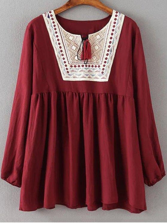 Fruncido flojo bordado de la blusa - Vino rojo XL