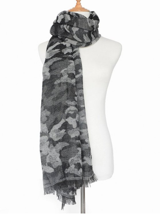 Army Camouflage Fringed Shawl Scarf -   Mobile