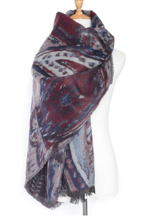 Ethnic Mural Fringed Shawl Scarf -   Mobile