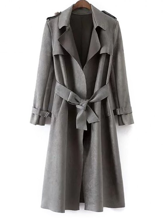 Faux Suede Long Trench Coat - GRAY M Mobile