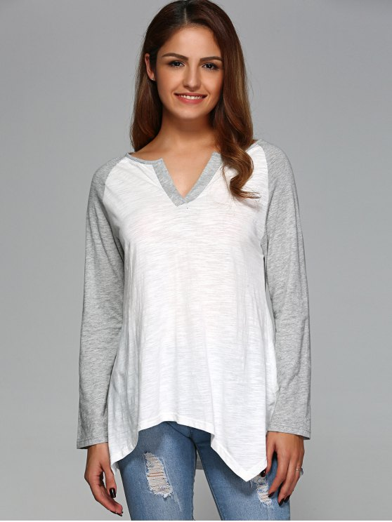 Raglan Sleeve Asymmetrical Tee - GREY AND WHITE M Mobile