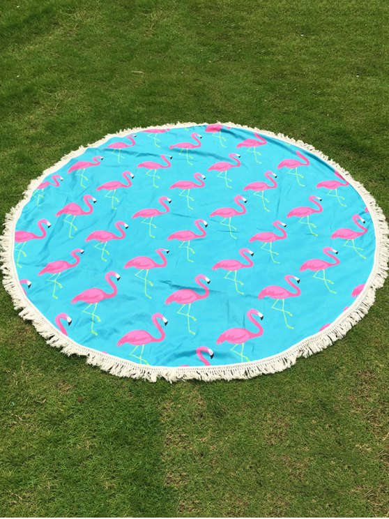 Flamingo Print Tassel Round Beach Throw - LIGHT BLUE ONE SIZE Mobile