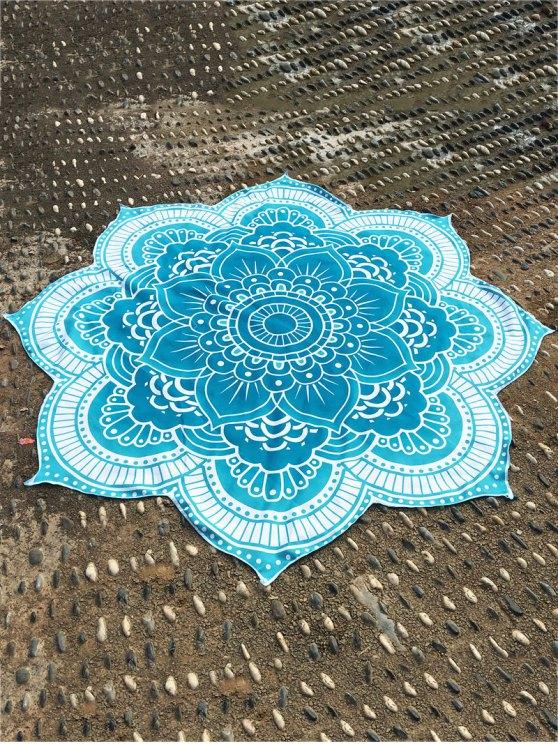 Lotus Flower Round Beach Throw - LAKE BLUE ONE SIZE Mobile