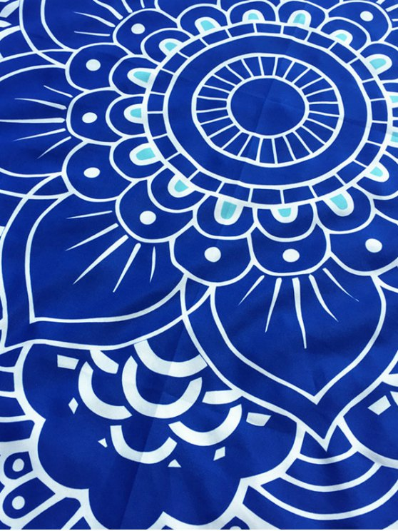 Lotus Flower Round Beach Throw - BLUE ONE SIZE Mobile