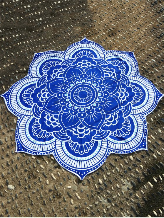 Lotus Flower Plage Round Throw - Bleu TAILLE MOYENNE
