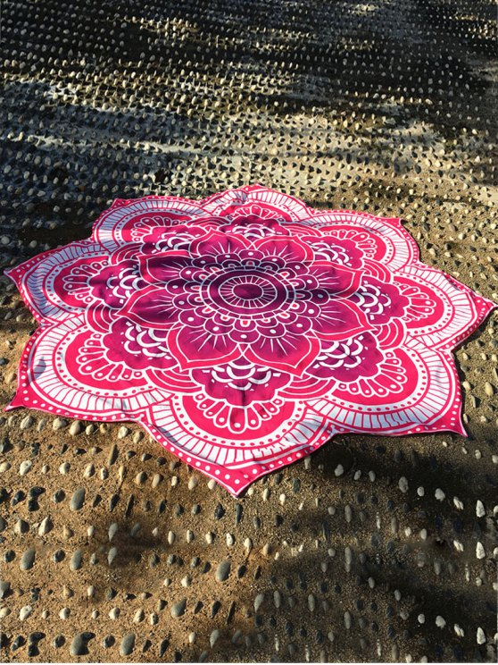 Lotus Flower Round Beach Throw - ROSE RED ONE SIZE Mobile