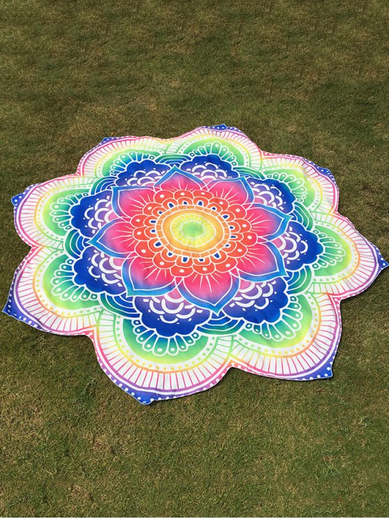 Bright Flower Round Beach Throw - COLORFUL ONE SIZE Mobile