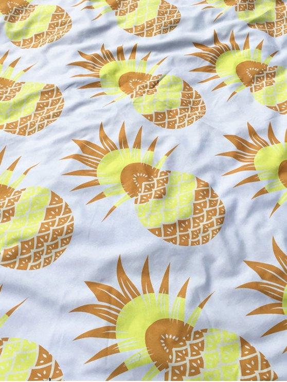 Pineapple Print Tassel Round Beach Throw - WHITE  Mobile