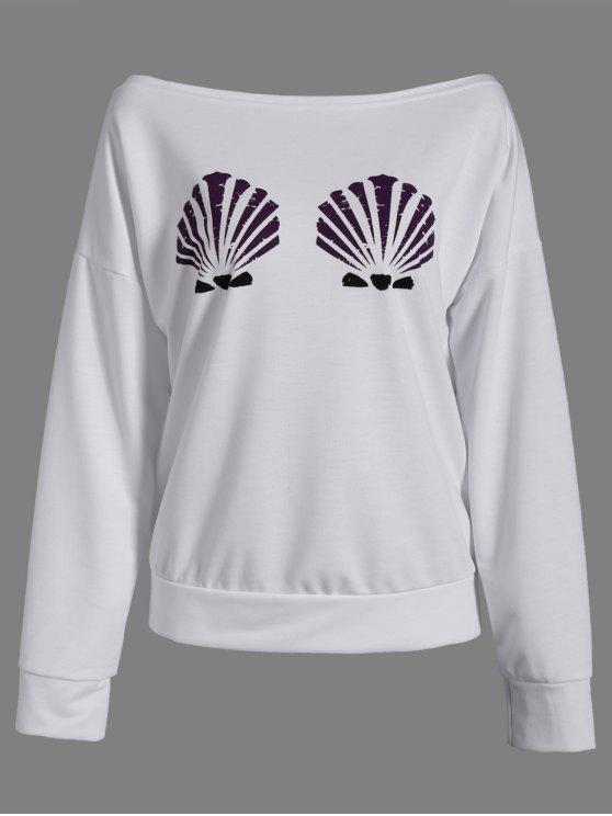 hot One-Shoulder Shell Print Sweatshirt - WHITE M