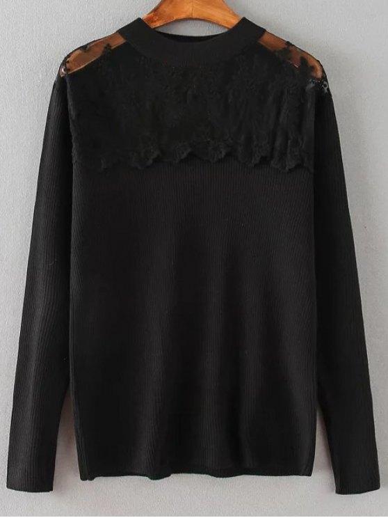 fancy Loose Lace Spliced Sweater - BLACK 2XL