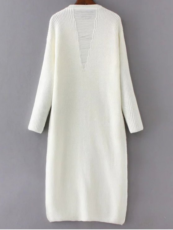 Front Slit Long Sweater - WHITE ONE SIZE Mobile