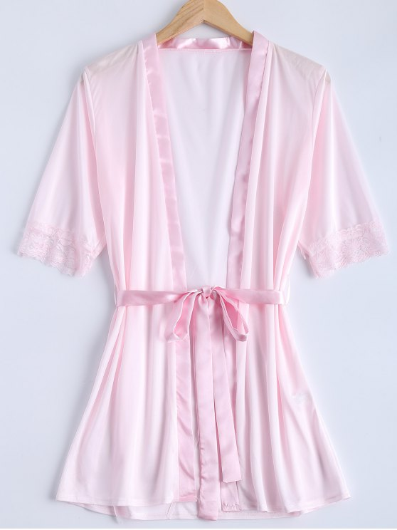 Belted Lace Insert Sleepwear - PINK S Mobile