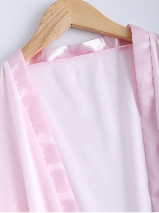Belted Lace Insert Sleepwear - PINK L Mobile