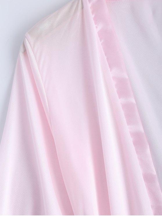 Belted Lace Insert Sleepwear - PINK XL Mobile