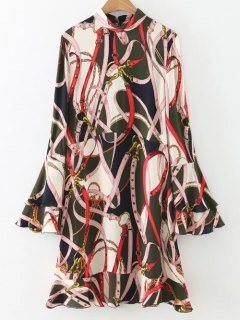 Abstract Print Bell Sleeve Dress - S