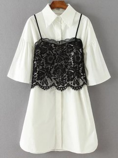 Shirt Dress With Cami Lace Tank Top - White Xl