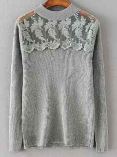 Loose Lace Spliced Sweater - Gray