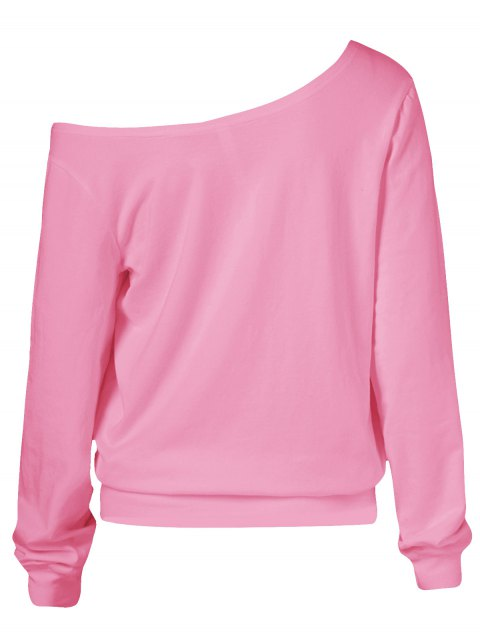 fashion Oblique Shoulder Skulls Print Sweatshirt - PINK XL Mobile