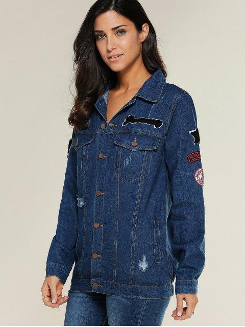 womens Applique Shirt Collar Ripped Denim Jacket - DENIM BLUE M Mobile
