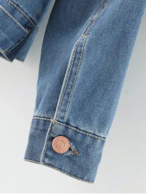 unique Floral Embroidered Denim Jacket With Pockets - DENIM BLUE L Mobile