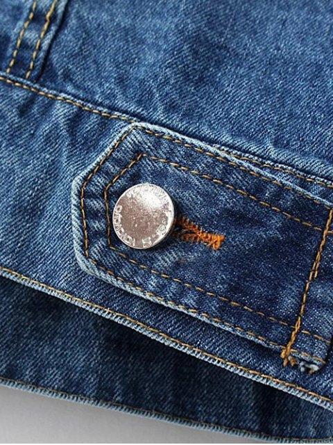 buy Denim Embroidered Jacket With Pockets - DENIM BLUE L Mobile