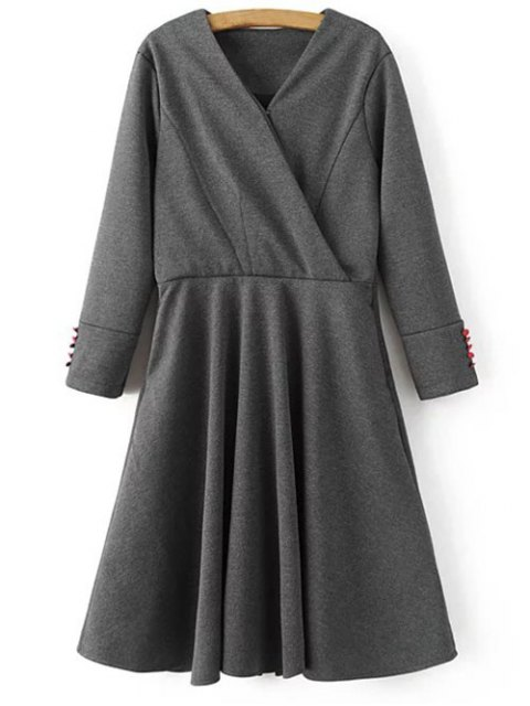 sale Long Sleeve Crossover Midi Dress - GRAY M Mobile
