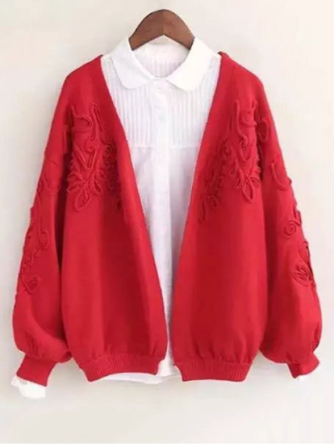 online Floral Applique Cardigan - RED ONE SIZE Mobile