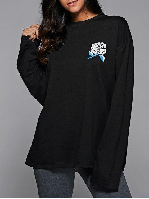 chic Floral Print Oversized Sweatshirt - BLACK M Mobile
