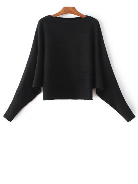 shop Bat-Wing Sleeve Sweater - BLACK ONE SIZE Mobile
