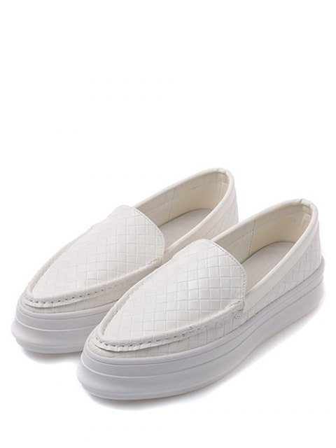 women Plaid Pattern PU Leather Embossing Flat Shoes - WHITE 38 Mobile