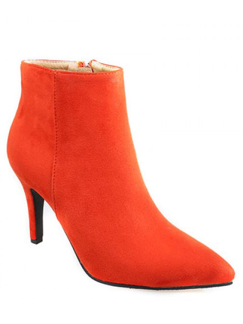 sale Flock Pointed Toe Stiletto Heel Ankle Boots - JACINTH 40 Mobile