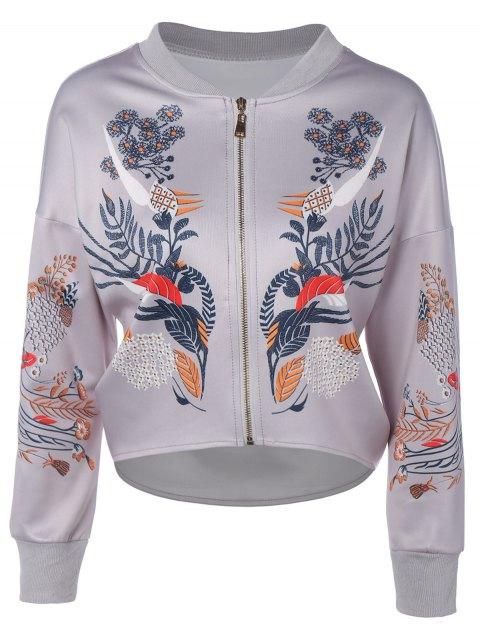 trendy Drop Shoulder Dip Hem Jacket - GRAY XL Mobile