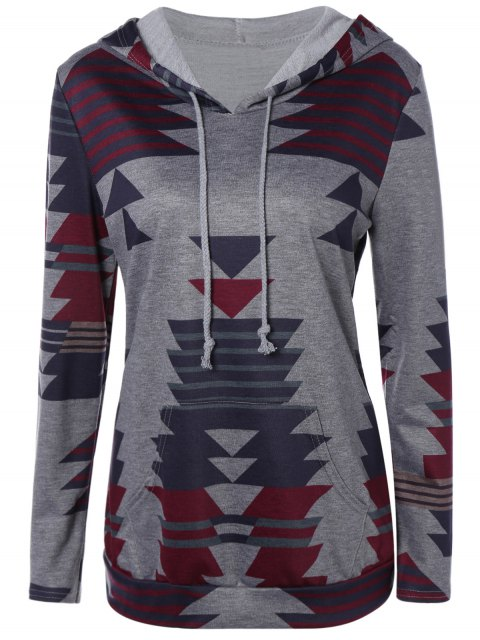 lady Geometric Print Pullover Hoodie - GRAY L Mobile