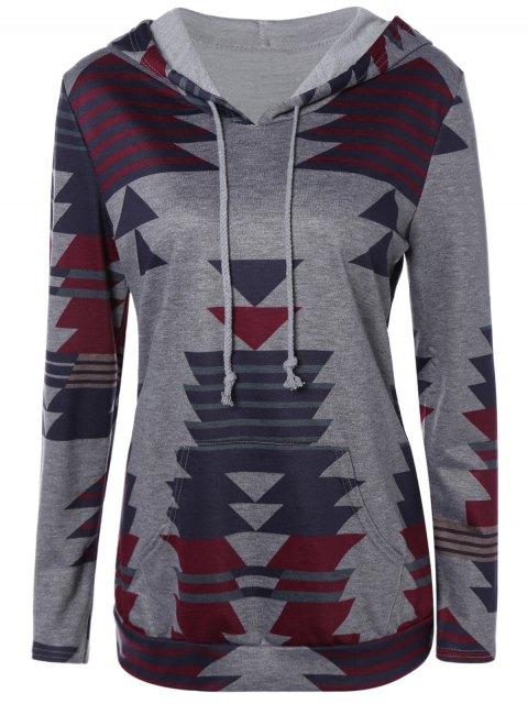 best Geometric Print Pullover Hoodie - GRAY M Mobile