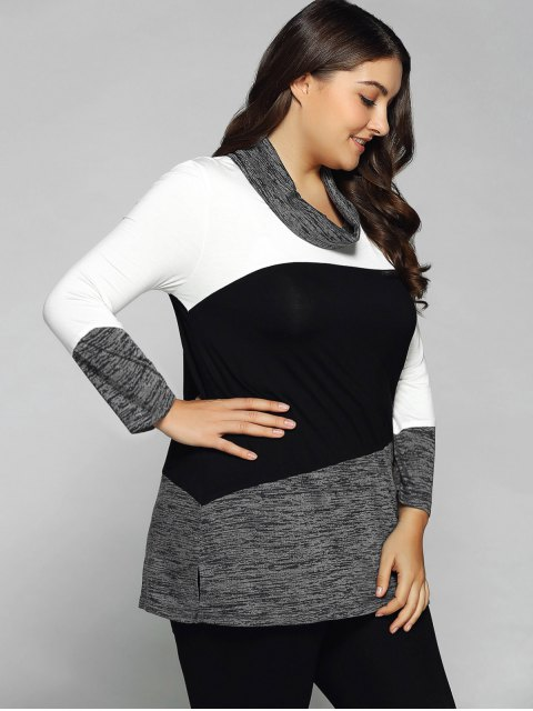 best Heathered Cowl Neck Plus Size Blouse - WHITE AND BLACK XL Mobile