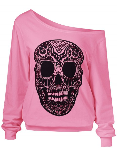 fancy Oblique Shoulder Skulls Print Sweatshirt - PINK M Mobile