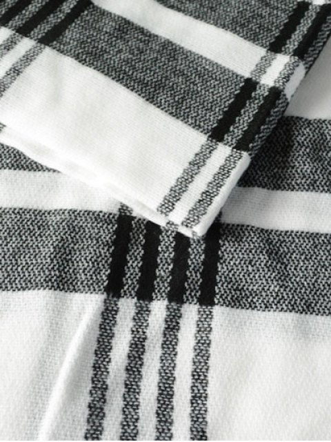 lady Plaid Pattern Fringed Knit Scarf - WHITE  Mobile