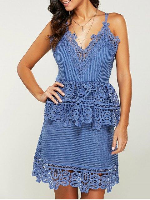 women's Strappy Peplum Lace Overlay Dress - BLUE LIGHT S Mobile