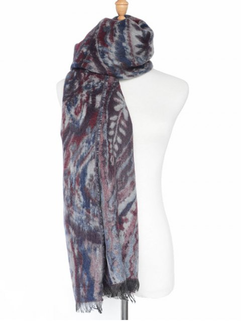 fancy Ethnic Mural Fringed Shawl Scarf -   Mobile