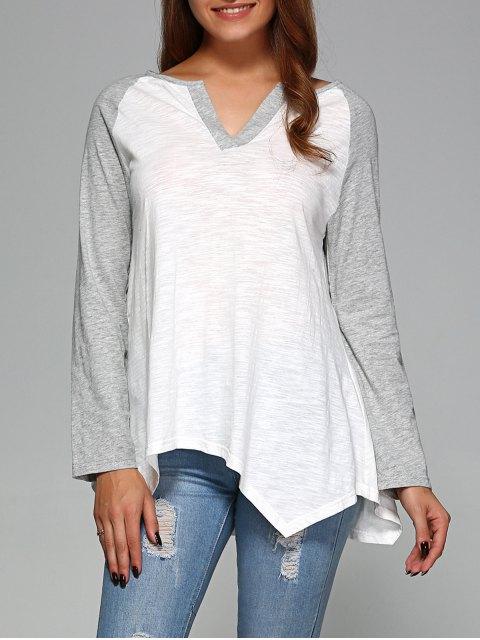 outfit Raglan Sleeve Asymmetrical Tee - GREY AND WHITE XL Mobile
