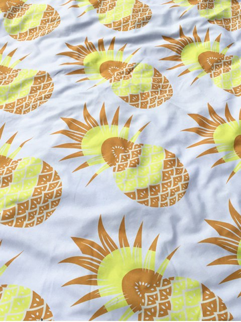 trendy Pineapple Print Tassel Round Beach Throw - WHITE  Mobile