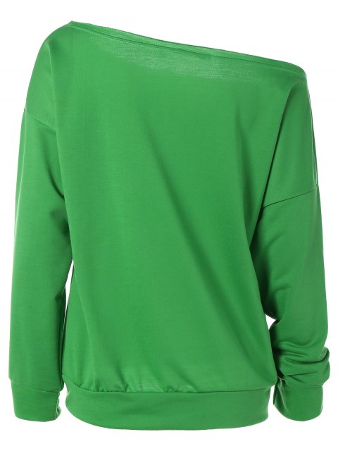 shops One-Shoulder Shell Print Sweatshirt - GREEN M Mobile