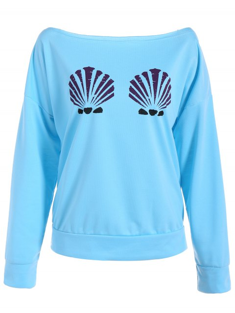chic One-Shoulder Shell Print Sweatshirt - LIGHT BLUE M Mobile