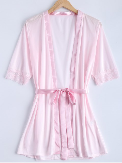 latest Belted Lace Insert Sleepwear - PINK S Mobile
