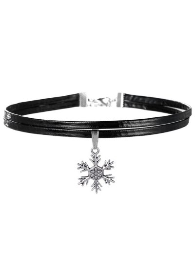 Snowflake Choker Necklace - Silver